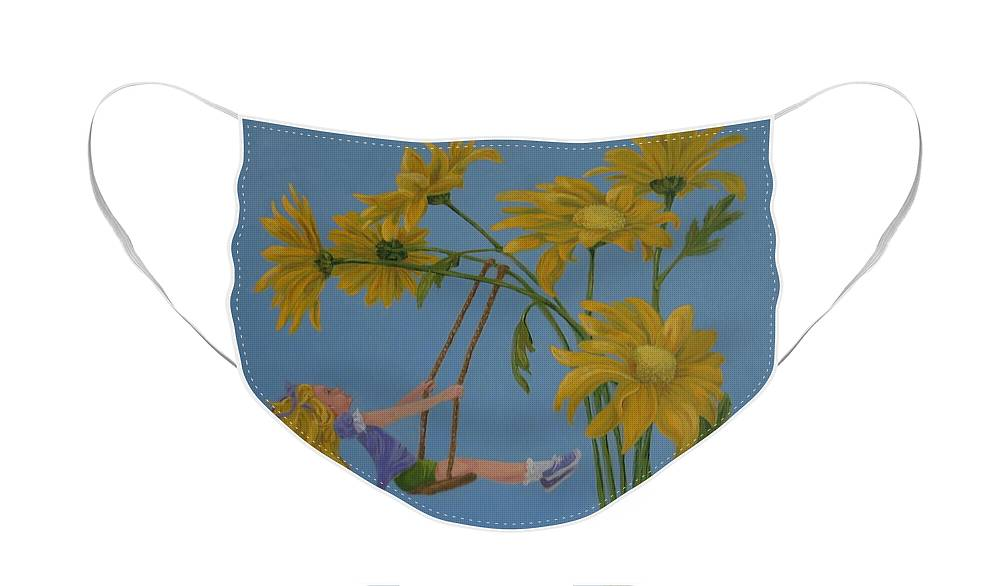 Swinging Face Mask featuring the painting Daisy Days by Karen Ilari