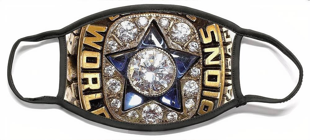 Dallas Cowboys Face Mask featuring the digital art Dallas Cowboys First Super Bowl Ring by Paul Van Scott