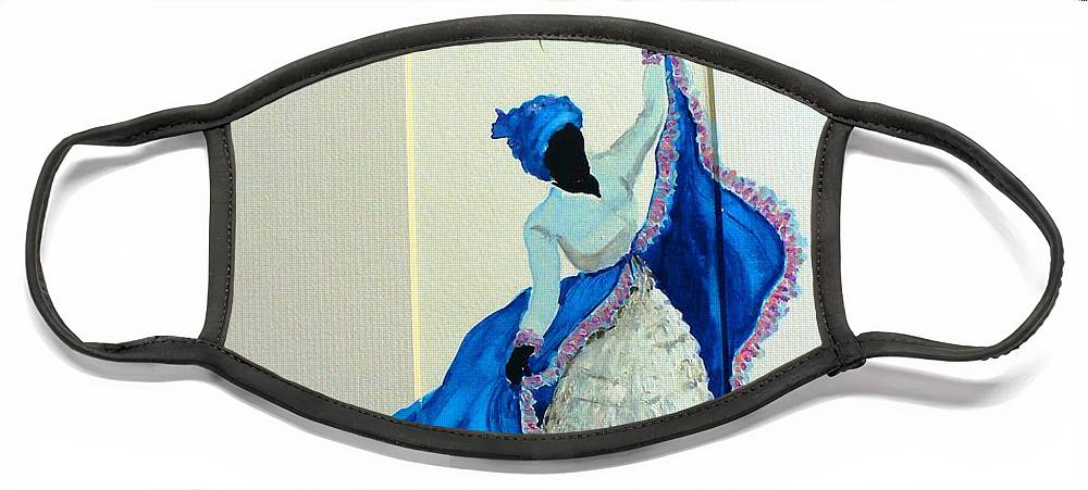 Folk Dance Caribbean Tropical Face Mask featuring the painting Dance De Pique by Karin Dawn Kelshall- Best