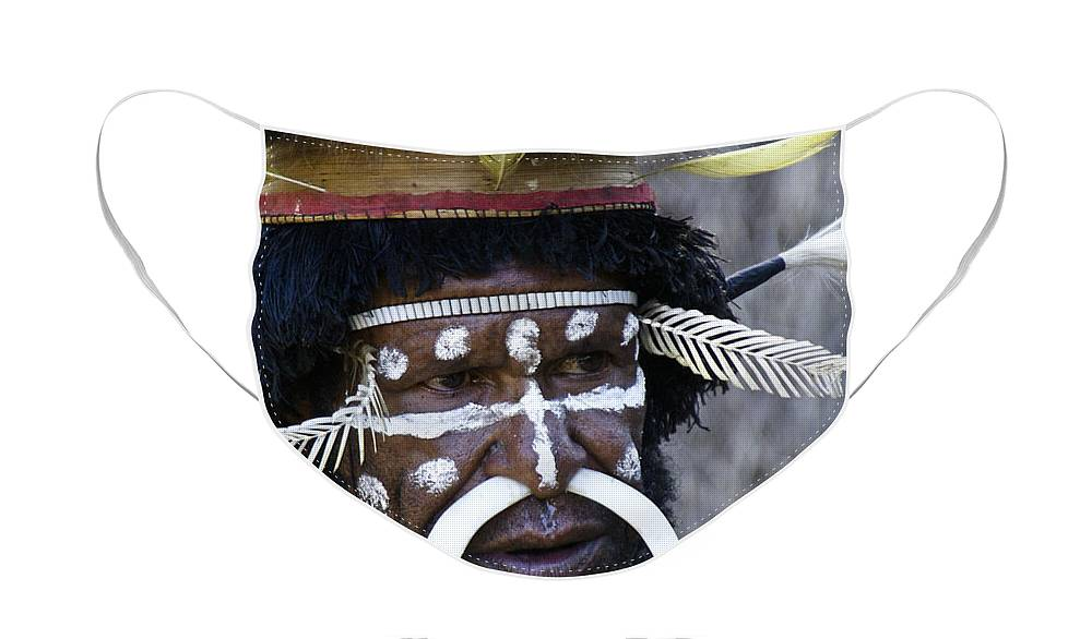 Southeast Asia Face Mask featuring the photograph Dani Tribesman by Michele Burgess