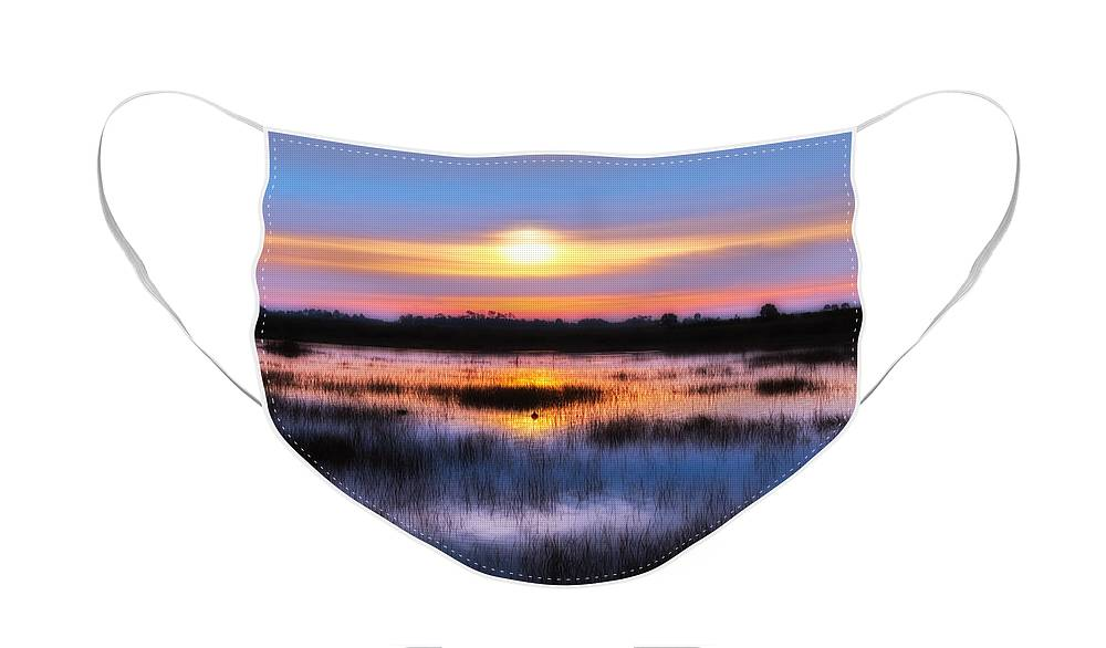 Sunrise Face Mask featuring the photograph Dawn over the Salt Marsh by Rich Leighton