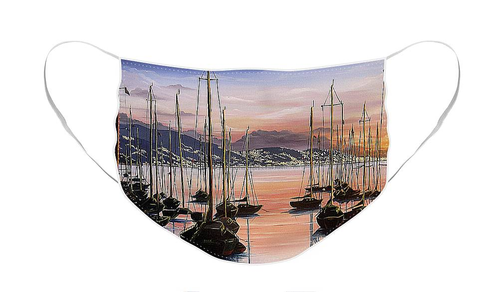 Seascape Painting Yacht Painting Harbour Painting Port Of Spain Trinidad And Tobago Painting Caribbean Painting Tropical Seascape Yachts  Painting Boats Dawn Breaking Greeting Card Painting Face Mask featuring the painting Daybreak by Karin Dawn Kelshall- Best