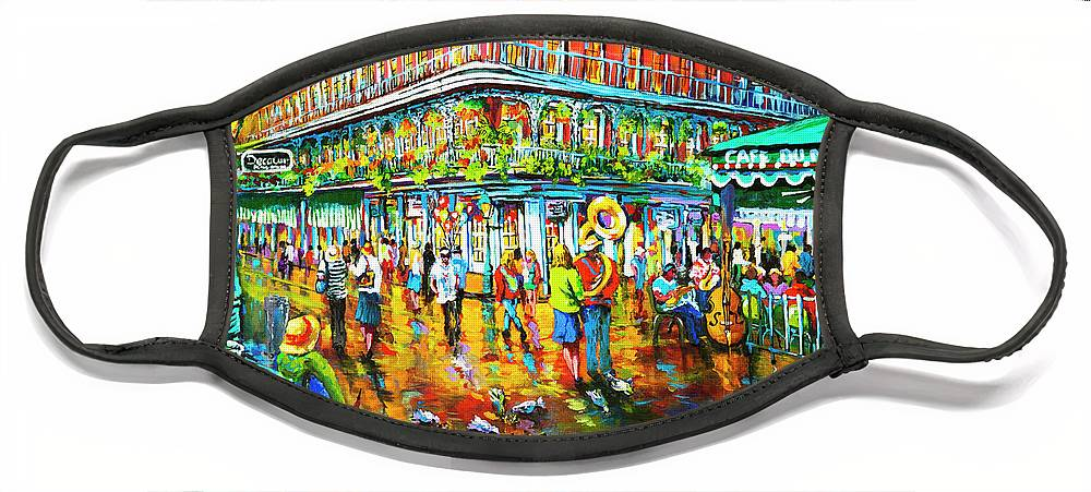 New Orleans Art Face Mask featuring the painting Decatur Evening by Dianne Parks