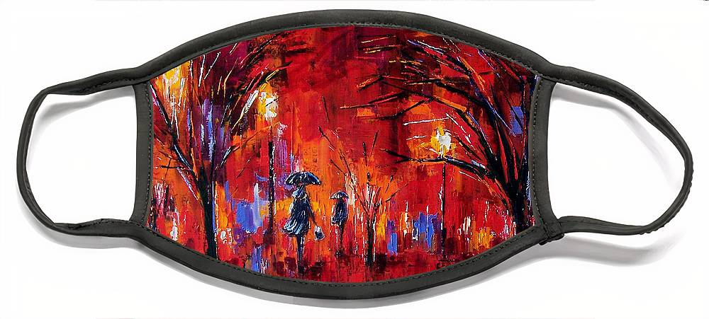 Umbrellas Face Mask featuring the painting Deep Red by Debra Hurd