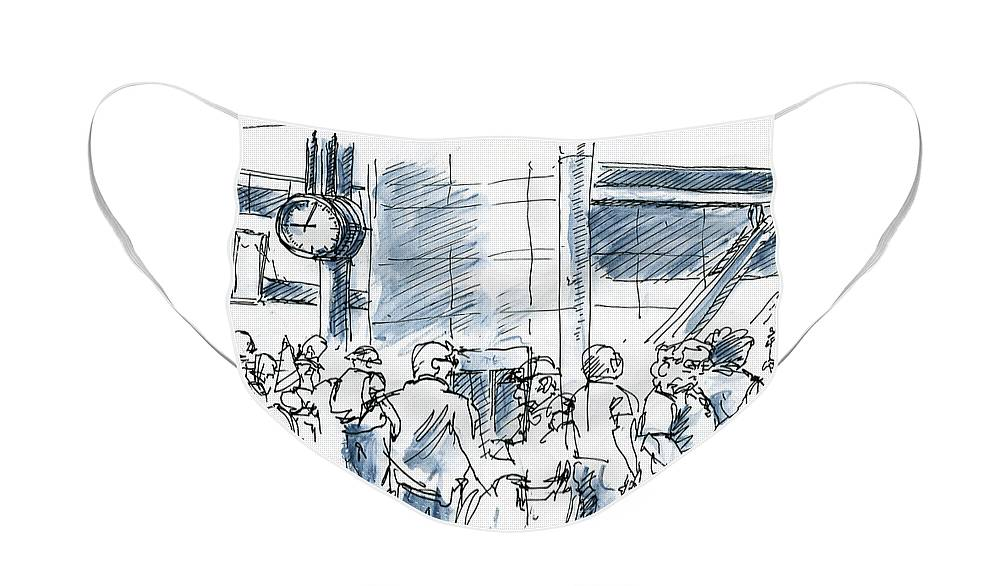 Airport Face Mask featuring the drawing Delayed Departure People Waiting At Airport Ink Drawing and Wate by Frank Ramspott