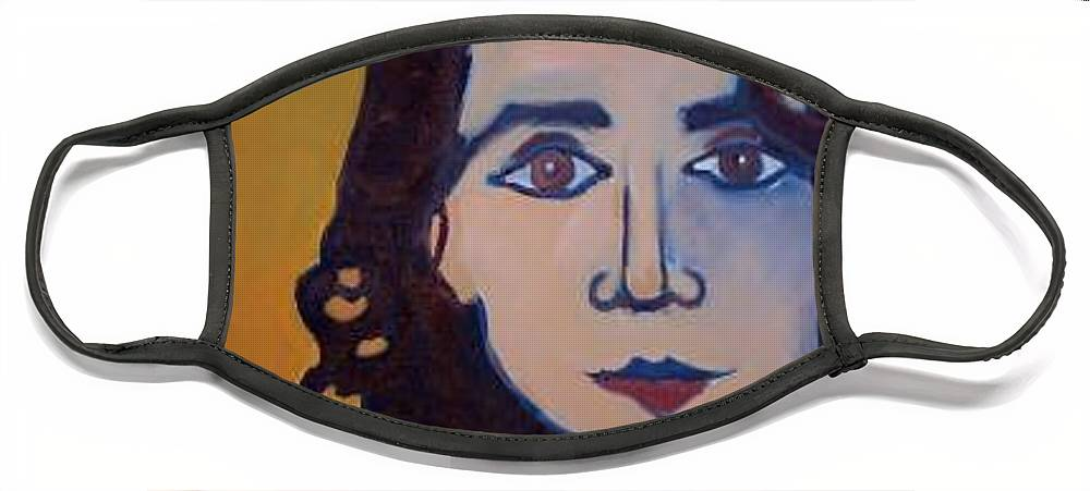 Greek Woman Face Mask featuring the painting Denise Closeup by Debra Bretton Robinson
