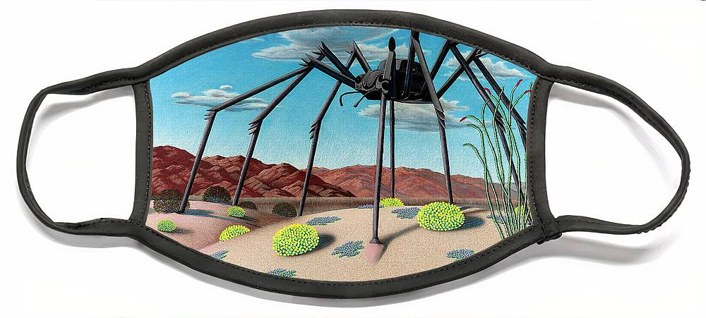 Desert Face Mask featuring the painting Desert Bug by Snake Jagger