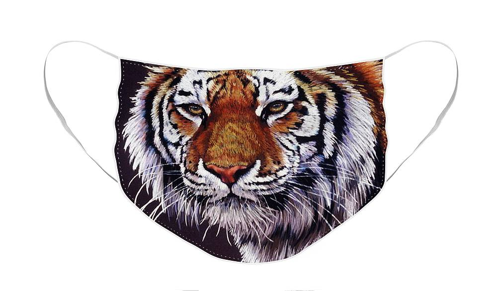 Tiger Face Mask featuring the drawing Desperado by Barbara Keith
