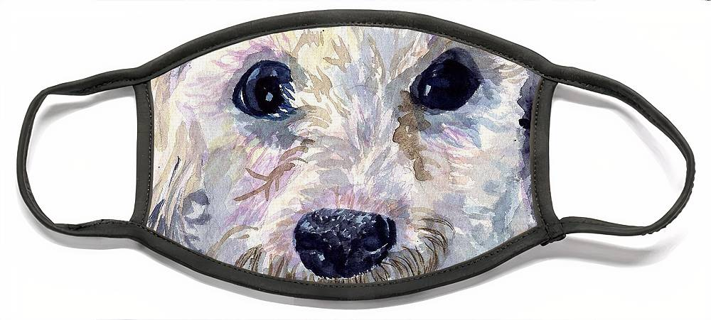 Bichon Frise Face Mask featuring the painting Did You Say Lunch by Sharon E Allen