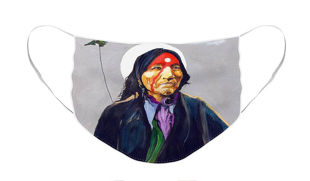 Shaman Face Mask featuring the painting Direct Connection by J W Baker