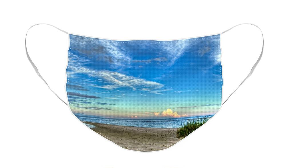 Beach Face Mask featuring the photograph Distant Thunderhead by Rich Leighton
