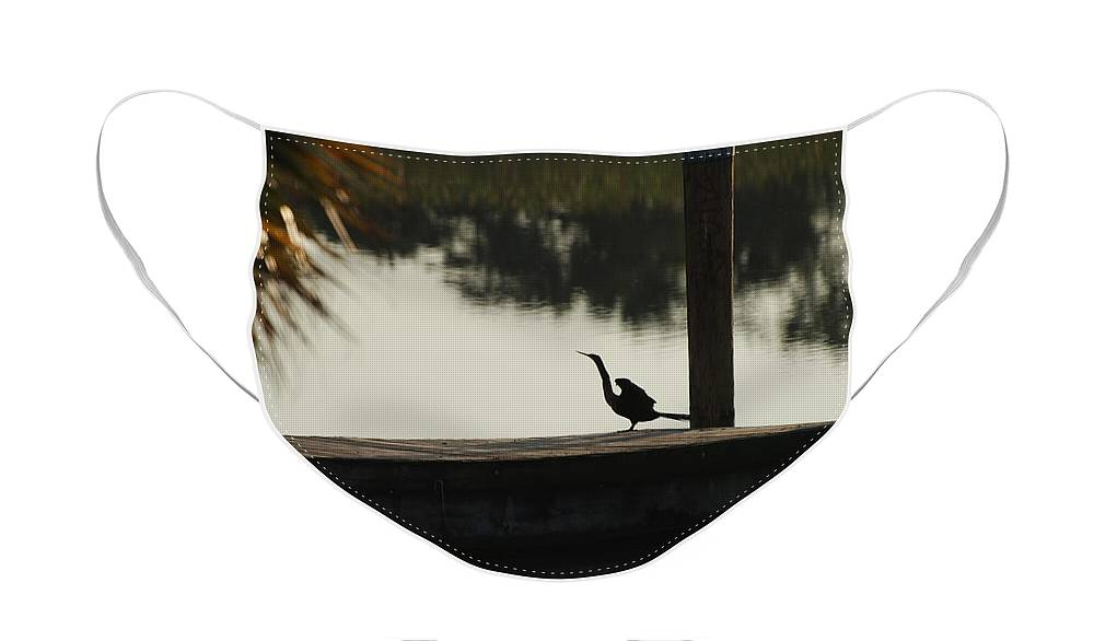 Reflections Face Mask featuring the photograph Dock Bird In Color by Rob Hans