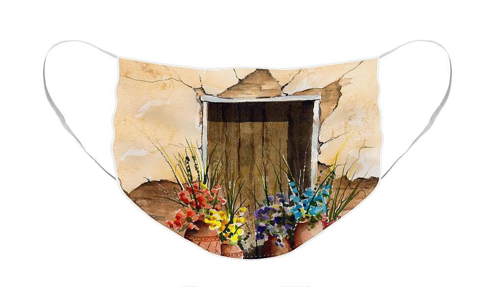 Door Face Mask featuring the painting Door With Flower Pots by Sam Sidders