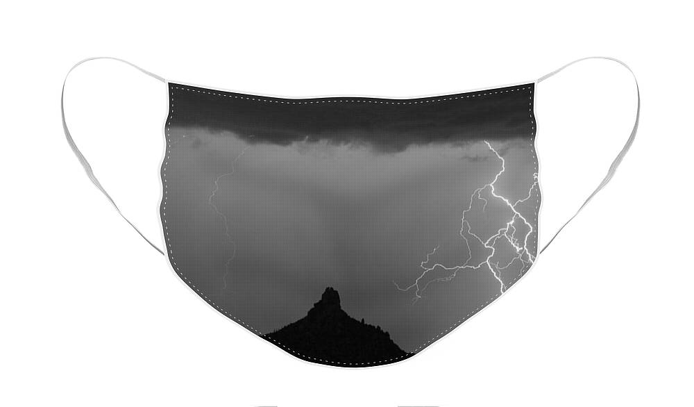 Arizona Face Mask featuring the photograph Double Lightning Pinnacle Peak Bw Fine Art Print by James BO Insogna