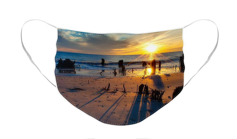 Sun Face Mask featuring the photograph Dramatic Beach Sunset by Rich Leighton