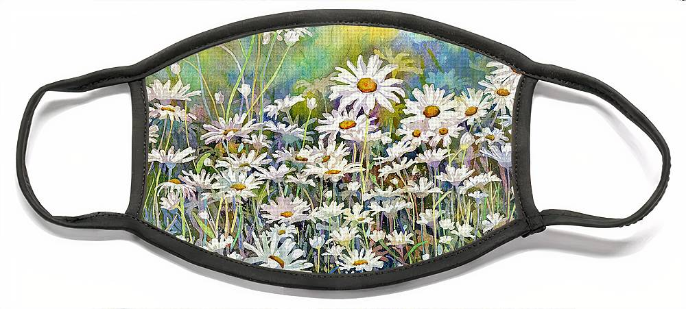 Daisy Face Mask featuring the painting Dreaming Daisies by Hailey E Herrera