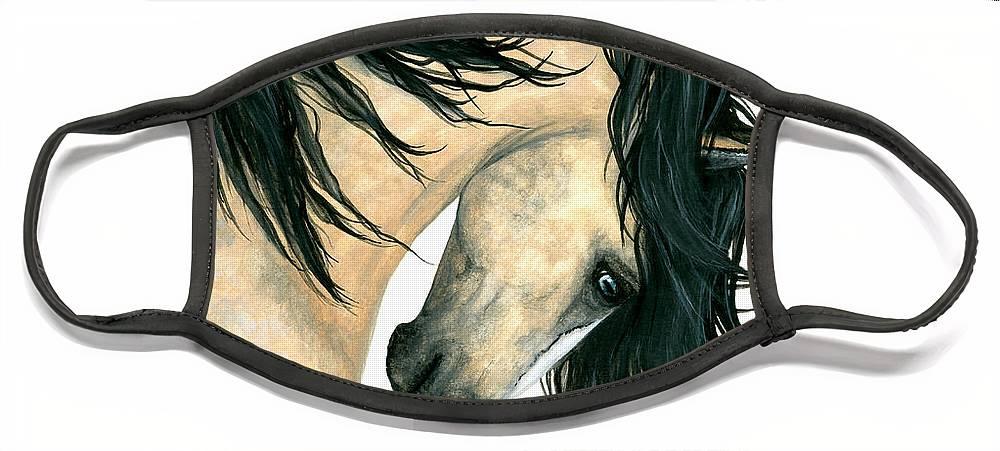 Mm162 Face Mask featuring the painting DreamWalker Buckskin Horse by AmyLyn Bihrle