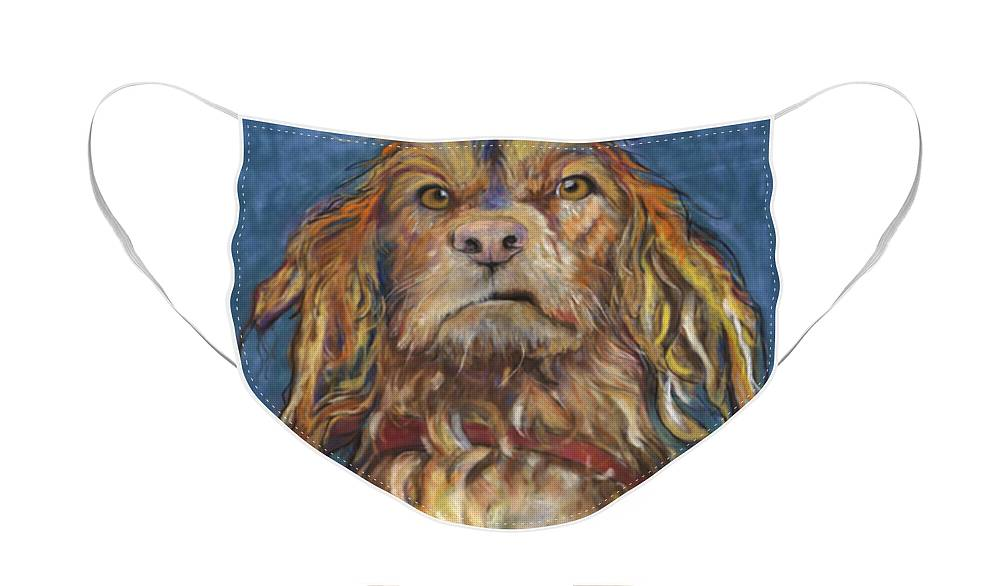 Golden Retriever Painting Face Mask featuring the pastel Drenched by Pat Saunders-White