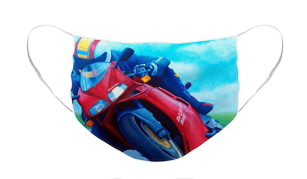 Motorcycle Face Mask featuring the painting Ducati 916 by Brian Commerford