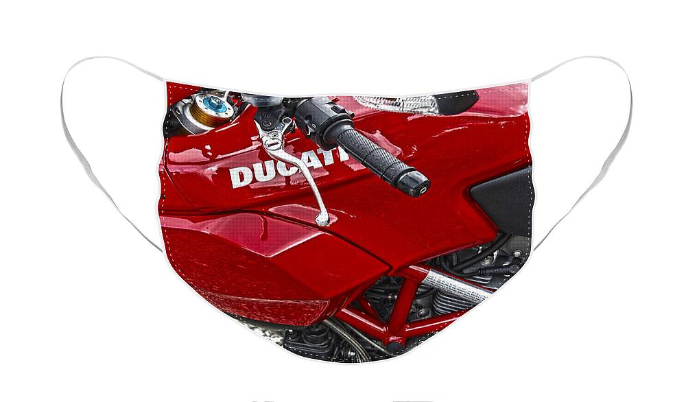Diane Berry Face Mask featuring the photograph Ducati Red by Diane E Berry