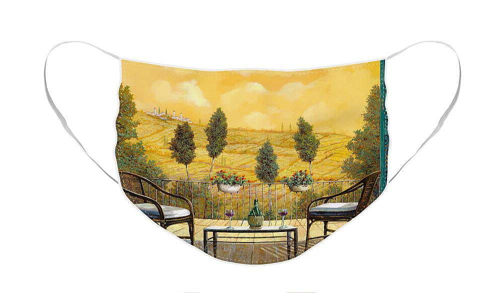 Terrace Face Mask featuring the painting due bicchieri di Chianti by Guido Borelli