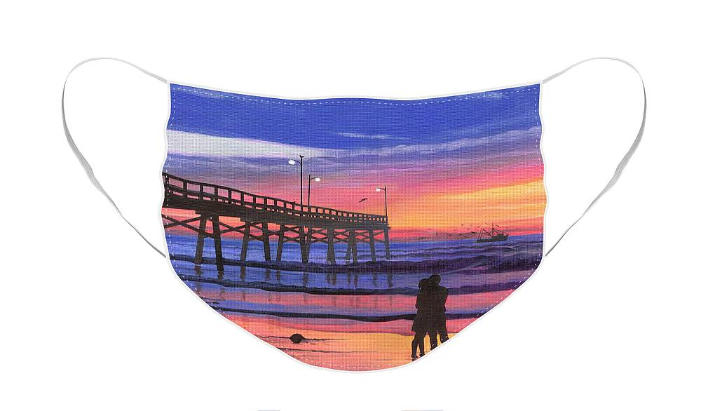 Dusk At The Pier Face Mask featuring the painting Dusk at the Pier by Christopher Spicer