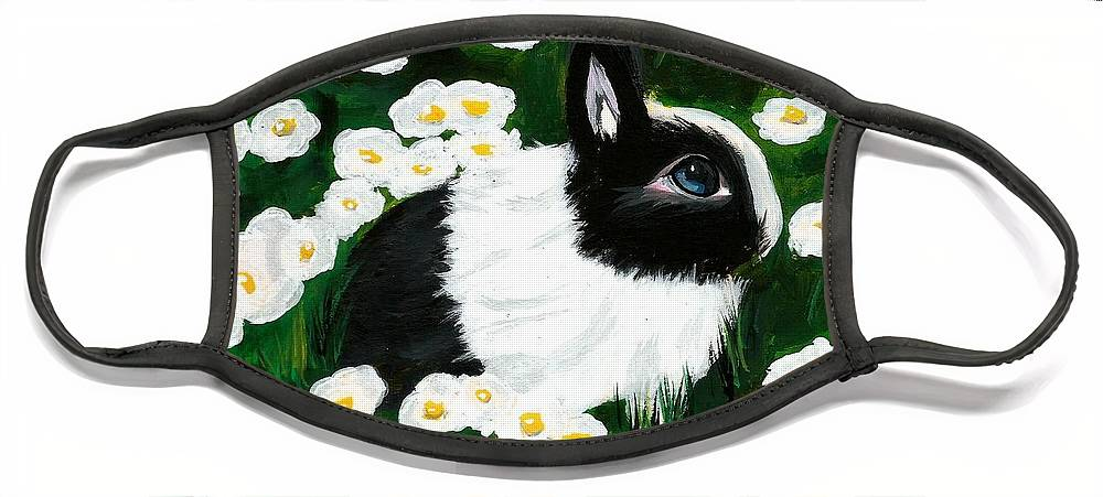 Dutch Bunny Daisies Acrylic Painting Black White Spring Easter Rabbit Impressionism Face Mask featuring the painting Dutch Bunny with Daisies by Monica Resinger