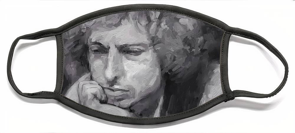 Bob Dylan Music Portrait Musician Rock Face Mask featuring the digital art Dylan by Scott Waters