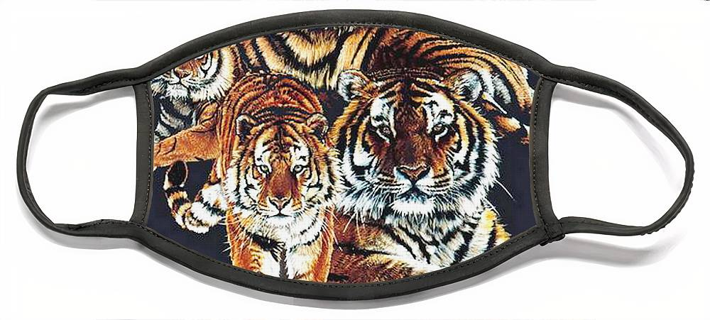 Tiger Face Mask featuring the drawing Dynasty by Barbara Keith