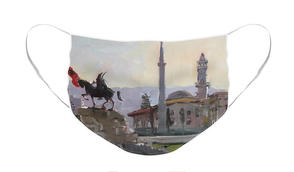 Tirana Face Mask featuring the painting Early Morning In Tirana by Ylli Haruni