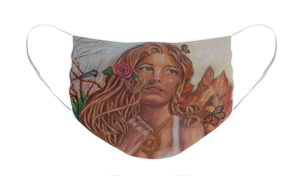 Earth Face Mask featuring the painting Earth Goddess by Quwatha Valentine