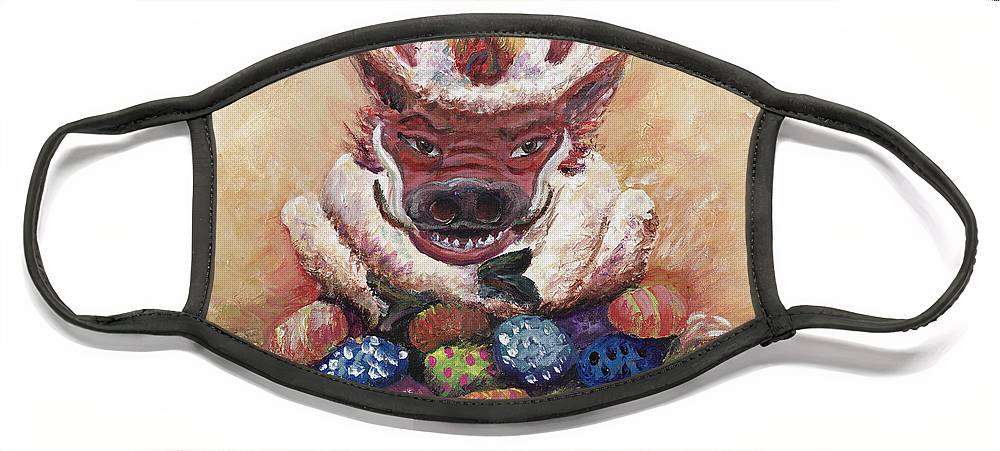 Easter Face Mask featuring the painting Easter Hog by Nadine Rippelmeyer
