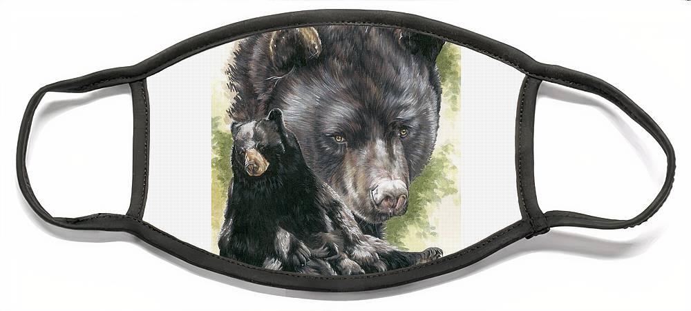 Black Bear Face Mask featuring the mixed media Ebony by Barbara Keith