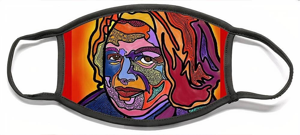 Edie Windsor Face Mask featuring the digital art Edie Windsor Soars Higher by Marconi Calindas