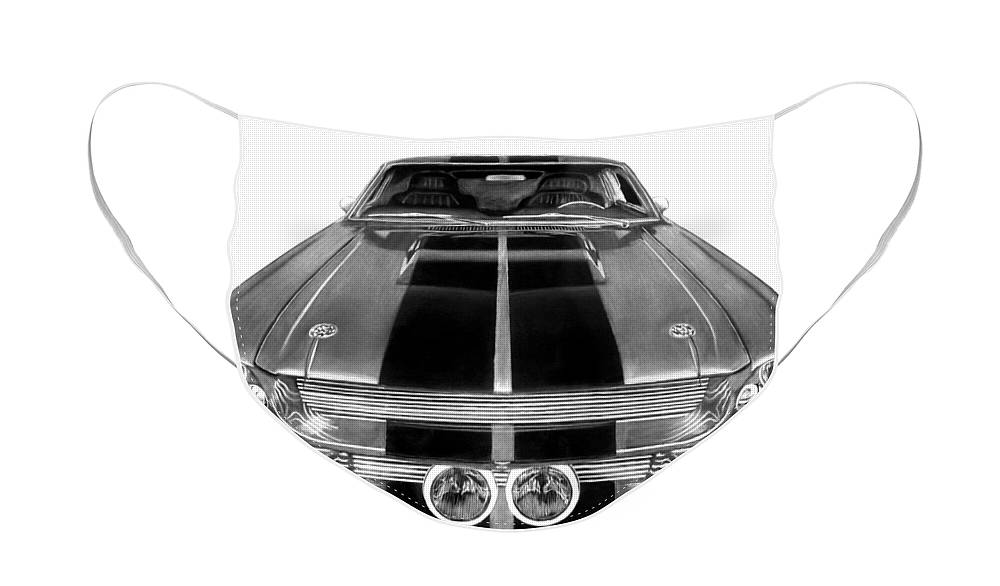 Eleanor Inverted Face Mask featuring the drawing Eleanor Ford Mustang by Peter Piatt