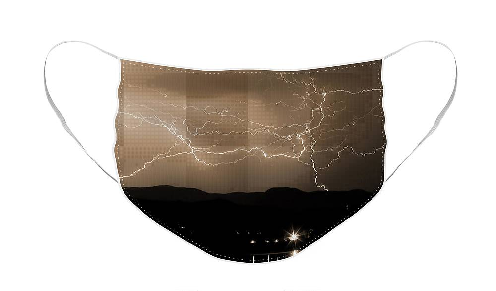 Lightning Face Mask featuring the photograph Electric Sepia Skies by James BO Insogna