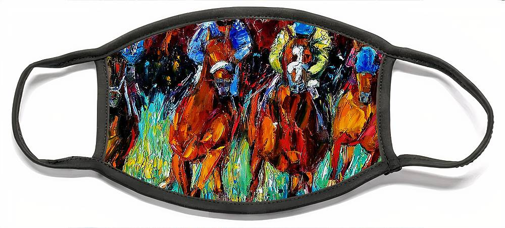 Horse Race Face Mask featuring the painting Endurance by Debra Hurd