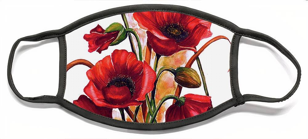 Red Poppies Paintings Floral Paintings Botanical Paintings Flower Paintings Poppy Paintings Field Poppy Painting Greeting Card Paintings Poster Print Painting Canvas Print Painting  Face Mask featuring the painting English Poppies 2 by Karin Dawn Kelshall- Best