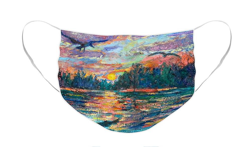 Landscape Face Mask featuring the painting Evening Flight by Kendall Kessler