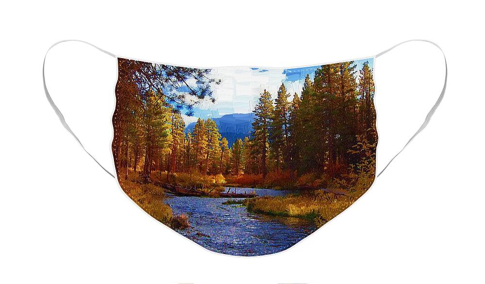 Berry Face Mask featuring the painting Evening Hatch on the Metolius River Painting 2 by Diane E Berry
