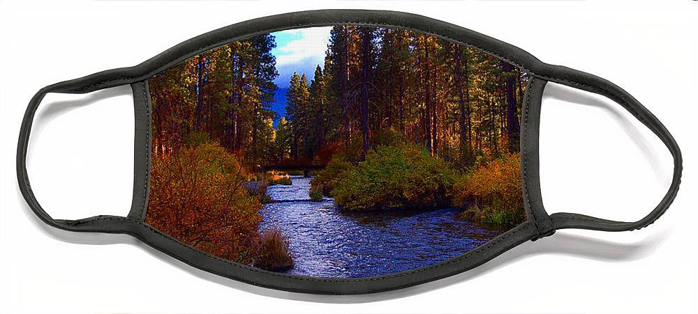 Diane Berry Face Mask featuring the photograph Evening Hatch on the Metolius River Photograph by Diane E Berry
