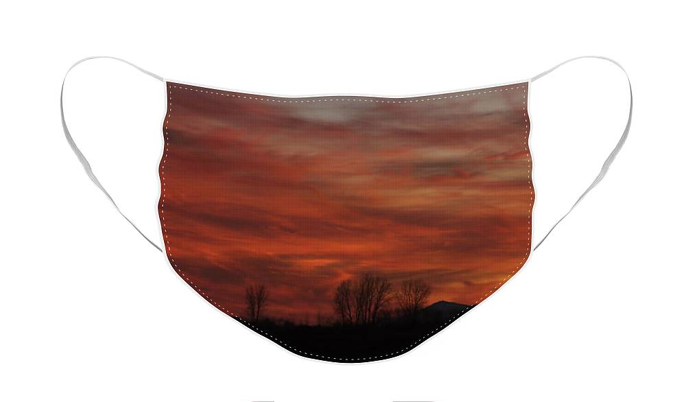 Sunset Face Mask featuring the photograph Evening In Red by Deborah Benoit