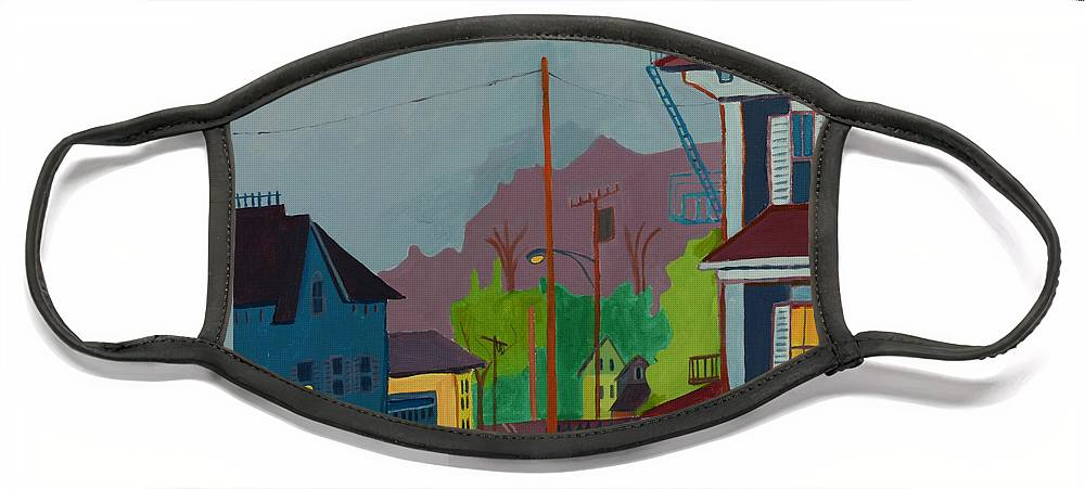 Town Face Mask featuring the painting Evening in Town Chelmsford MA by Debra Bretton Robinson