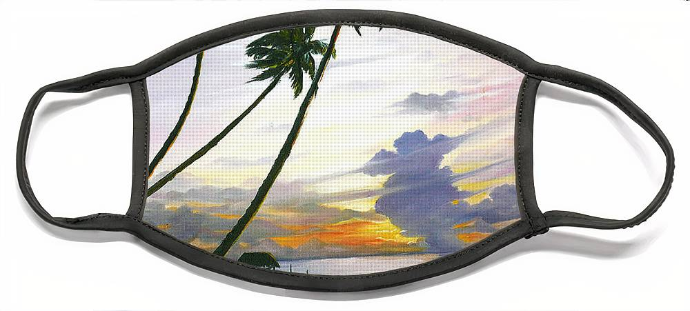 Ocean Painting Seascape Painting Beach Painting Sunset Painting Tropical Painting Tropical Painting Palm Tree Painting Tobago Painting Caribbean Painting Original Oil Of The Sun Setting Over Pigeon Point Tobago Face Mask featuring the painting Eventide Tobago by Karin Dawn Kelshall- Best