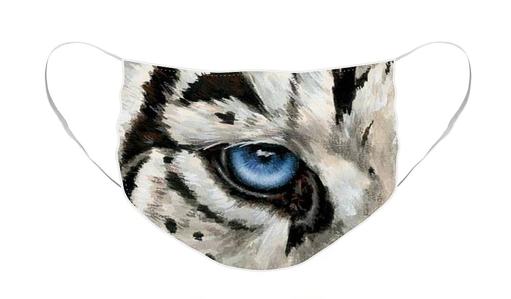 Big Cat Face Mask featuring the painting Royal White Tiger Gaze by Barbara Keith