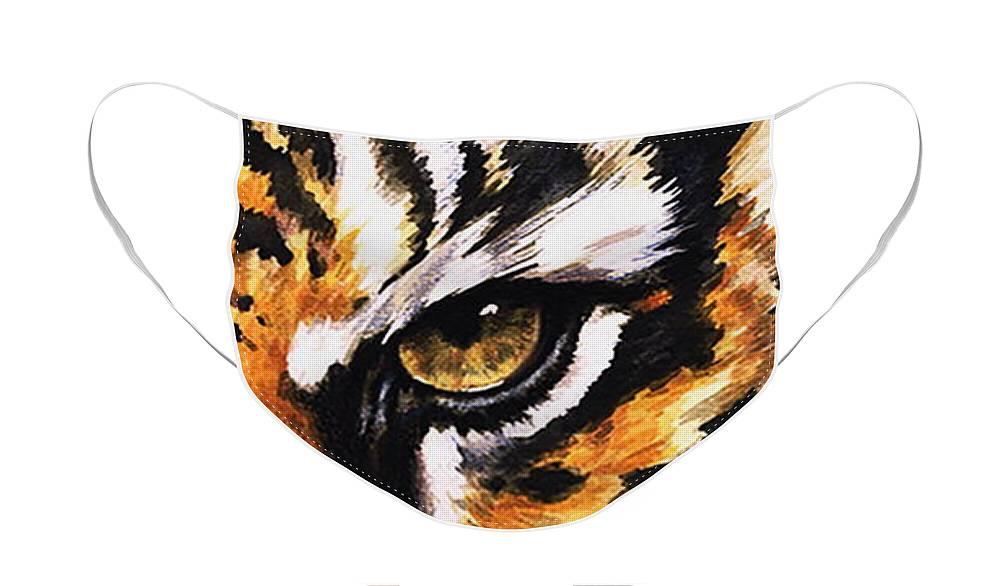 Feline Face Mask featuring the mixed media Sumatran Tiger Glare by Barbara Keith