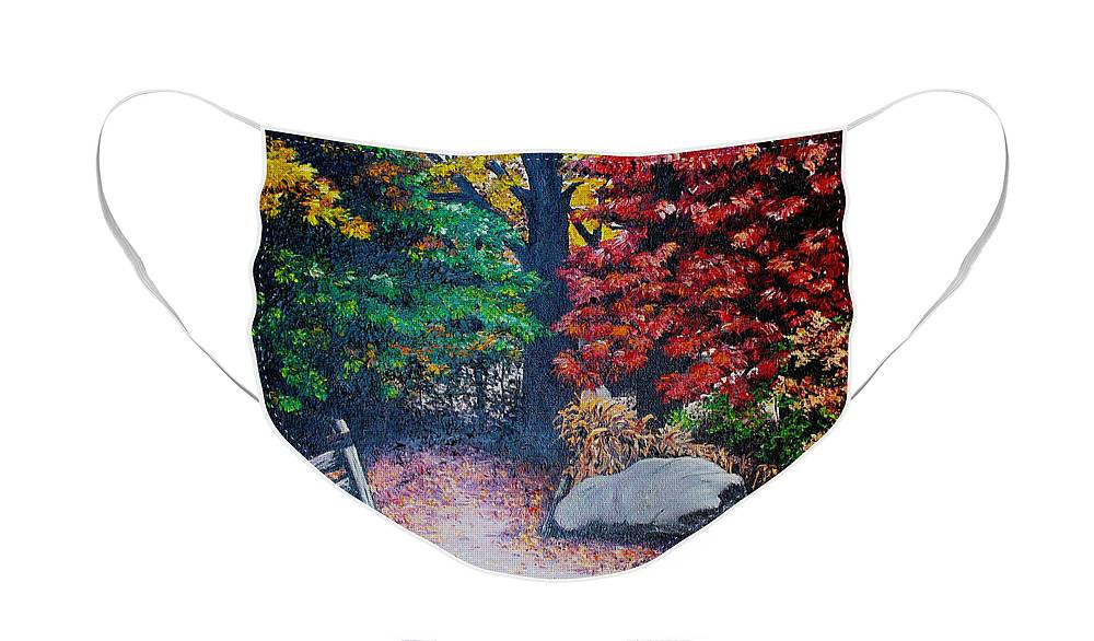 A N Original Painting Of An Autumn Scene In The Gateneau In Quebec Face Mask featuring the painting Fall In Quebec Canada by Karin Dawn Kelshall- Best