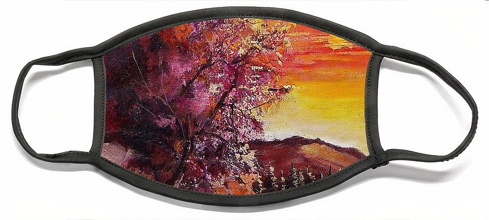 Autumn Face Mask featuring the painting Fall in Villers by Pol Ledent