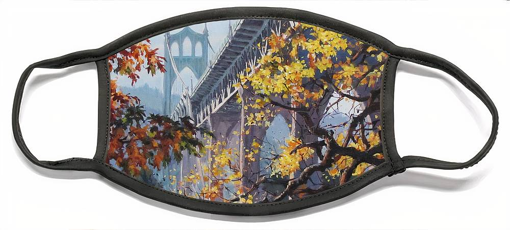 Portland Face Mask featuring the painting Fall St Johns by Karen Ilari