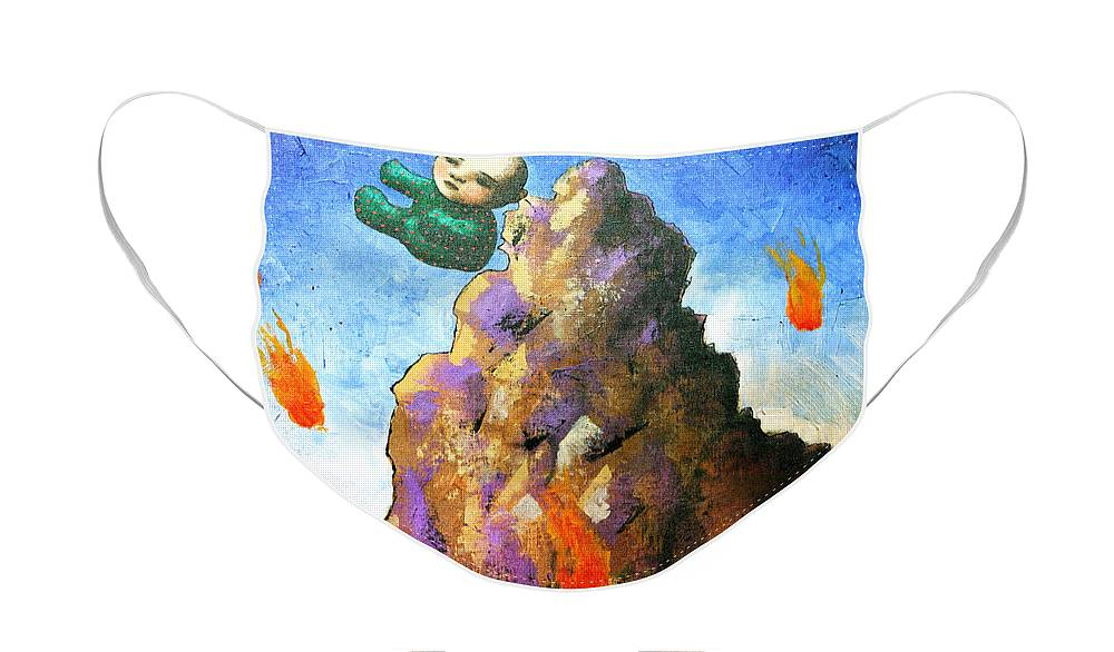 Figure Face Mask featuring the painting Falling Off the Mountain by Pauline Lim